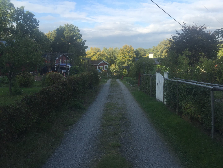 Sommarvägen, en grusväg i Ekens koloniområde